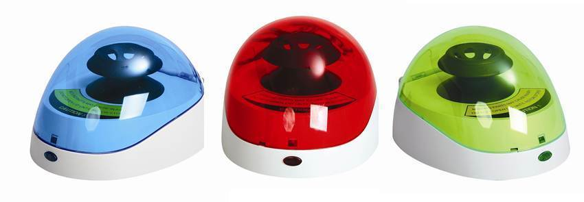 FastGene mini centrifuges in red, blue and green